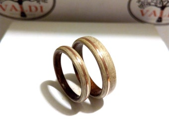 Wedding rings set. Ash wood, Ebony wood, Cooper inlay