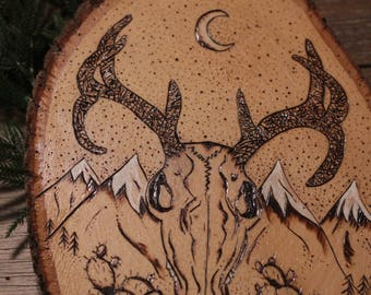 Deer skull, cacti, cactus,mountain view, wood burning art pyrography, moon, wall art