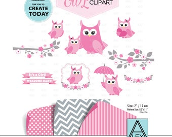 Girl owl Clipart, Pink clip art, png file. Nursery, Baby Shower decoration,birthday, instant download commercial use