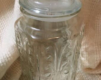 1970s Glass Canister Apothecary Jar Vintage Clear Glass Atterbury Scroll