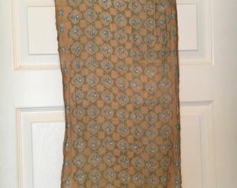 Vintage Tan Floral Scarf with Scalloped Edges