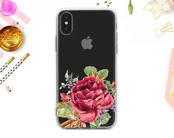 Personalized Clear transparent case iPhone X iPhone 8 Plus iPhone 7 Plus iPhone 7 iPhone 6S iPhone 6 Plus Phone SE Roses Pales yellow BD1019