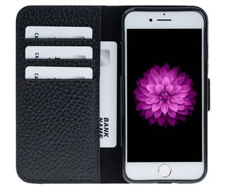 Leather Wallet Case for iPhone 8 / iPhone 8 Plus, Genuine Leather Cover for iPhone 8, Personalize Card Holder for iPhone 8 Plus, Black