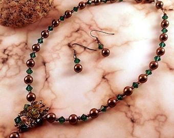 Handmade Vintage Look Necklace & Earrings Set