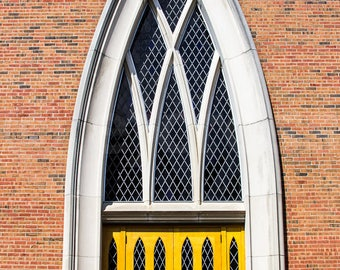 Bright Yellow Church Doors, grand entry way, digital download, printable, photograph