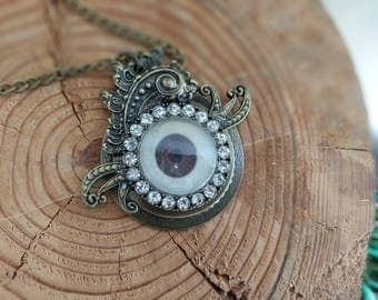 Scary Eye Bronze Pendant Necklace