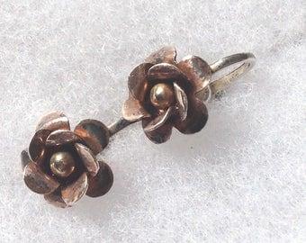 Vintage! Tri colored sterling silver flower screw on earrings. Delicate.