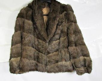 SUPER SOFT RABBIT - Chevron Vintage Fur Coat