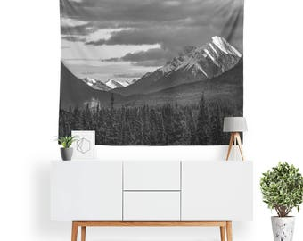 Mount Rundle Tapestry | Nature Tapestry | Mountain Wall Decor | Forest Tapestries | Landscape | Photo Tapestry | Canada | Black & White