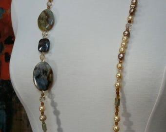 Autumn Jasper, Unakite, Faux pearls and Swarovski cystals