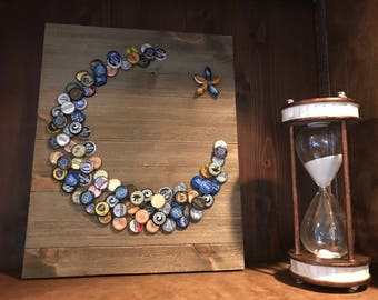 Distressed Crescent Moon Bottle Cap