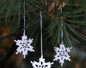 Crochet Snowflake Ornament || Icelandic Snowflake || Set of 3 || White || Schneeflocke