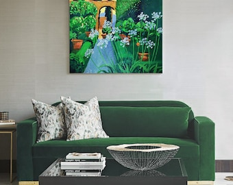 Italian Garden, Original oil painting in Canvas, Large Painting