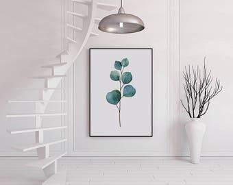 Eucalyptus Print, Modern home decor, house warming gift, dorm decor, printable