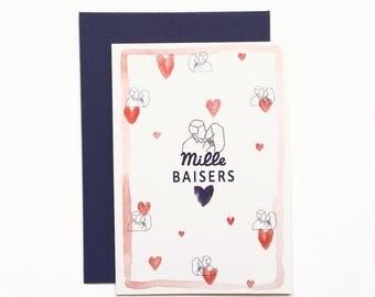 Postcard - thousand kisses - illustration, love, Valentine's day, kisses, watercolor