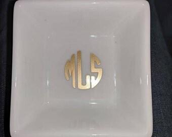 Monogrammed Ceramic ring holder