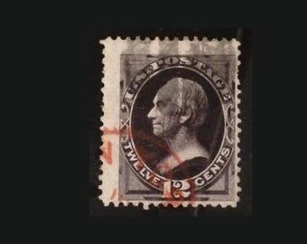 U.S. Postage Stamp 1873 12c Henry Clay, Scott #162, Used, Red Cancel