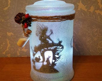 Large handmade fairy jar with quality L.E.D candle