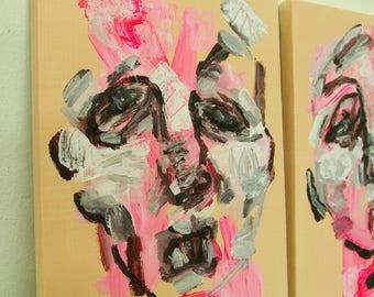 Set of 2  Abstract Face : modern artwork wall decor