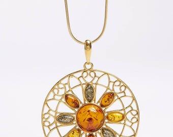 Amber Sunburst Pendant Necklace
