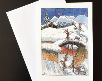 "Snowman Trap-Christmas card ""snowmen, hares and carrot noses"""