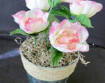 Pink Roses in Metal Pot