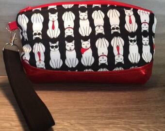 Clematis Clutch, Black & White Cats, Wristlet, Makeup Bag, Zipper Pouch, Evening Bag, Glitter Vinyl, Pencil Pouch, Cat Lady, Kitty
