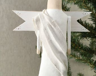 White Angel Christmas Ornament, Wings, Hanging, Handmade, Tree Decoration
