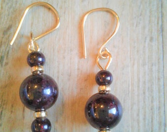 Birthstone for January Garnet earrings with 14k gold beads and wire