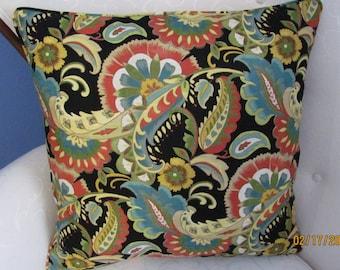 Bright Print/Black Linen Blend Pillow Cover