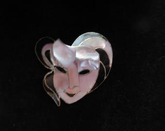Alpaca Mexico Shell Face Brooch Pin Pendant