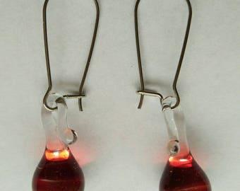 Red dangle earrings, drop earrings, glass earrings