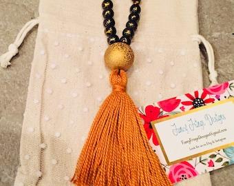Tassel necklace, Beaded Tassel Necklace, Bohemian Necklace, Boho Necklace, Necklace, Gift, Under 30