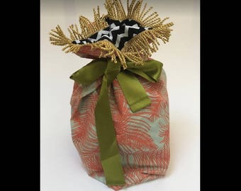 Reusable gift bag - tangerine palm fronds and golden tassles