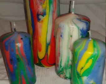 Candles colorfully Marbled