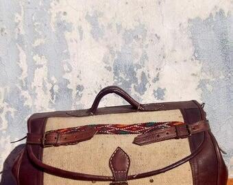 Large White Kilim Handmade Moroccan Leather Weekend Duffle Sports Travel Bag