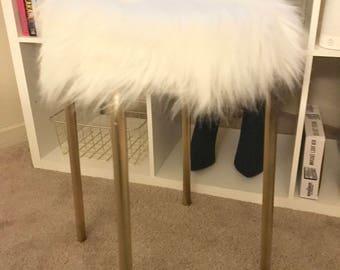 Gold & white faux fur stool