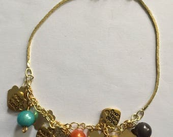 Gold plated beaded ankle bracelet