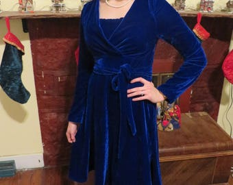 "Nursing Dress ""Ohayo"" Blue Velvet Dress with Matching Belt size Medium"