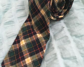 vintage wool plaid tie - bert pulitzer (free US shipping)