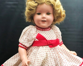 "antique Ideal 15"" Shirley Temple composition doll from the 1930s"