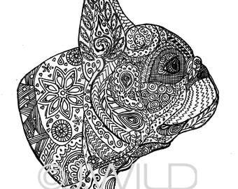 Franse Bulldog Zen tekening zwart / wit