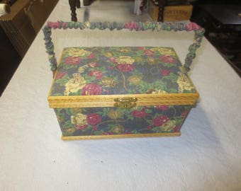 """SEWING BOX Muted Rose Fabric-Covered Swing Handled  with Tray - 11"""" x 7"""" x 5.5"""""""