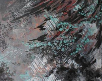Original Mixed Media Abstract Painting - Almost Dark, 36x30
