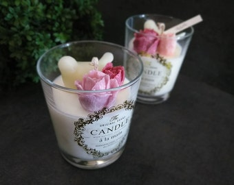 Soy Candle 9oz/Flower Candle/Gift/Handmade