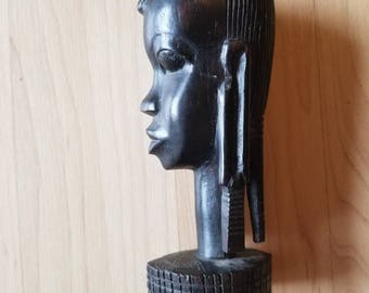 African Wood Carving Bust Figure