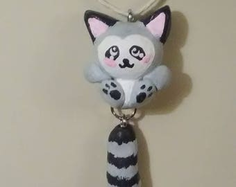 Cute Polymer Clay Racoon Necklace