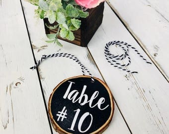 Wood slice Table Numbers, Rustic wedding table numbers