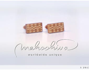 wooden cuff links wood cherry maple handmade unique exclusive limited jewelry - mahoshiva k 2017-69