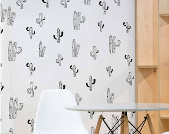 Cactus Line Drawing Repetition Wall Sticker